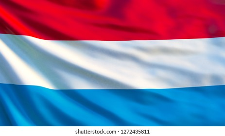 Luxembourg flag. Waving flag of Luxembourg 3d illustration. Luxembourg