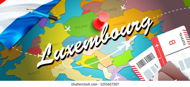 Luxembourg travel concept map background with planes, tickets. Visit Luxembourg travel and tourism destination concept. Luxembourg flag on map. Planes and flights to luxembourgish holidays