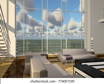 Luxurious apartment with high windows Computer generated 3D illustration