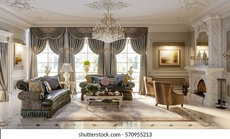 Luxurious baroque living room in large classic style house with large marble fireplace, marble floors and ceiling decorated with molded ornaments. 3d render