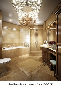 Luxurious Bathroom Interior In Classic Style With Crystal Chandeliers And  Stained Glass On The Ceiling.