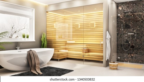 Luxurious bathroom with sauna in a modern home. 3d rendering