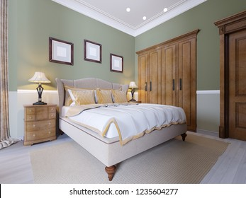 Luxurious bed in the interior of a modern bedroom in a classic style. Nightstands with table lamps and paintings over the headboard. 3d rendering