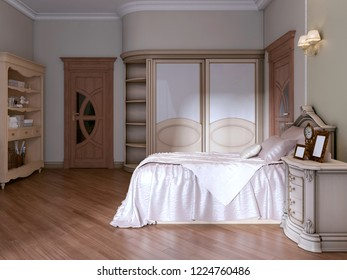 Luxurious bedroom with two single beds in a classic style. With a bookcase, TV and dressing table. 3D rendering.