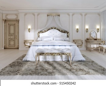 Luxurious bedroom in white colors in a classic style, with designer furniture and a canopy bed. 3D render.