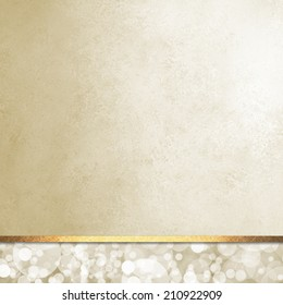 luxurious beige white background layout, bubbles or bokeh design on bottom footer panel with vintage paper texture and gold ribbon