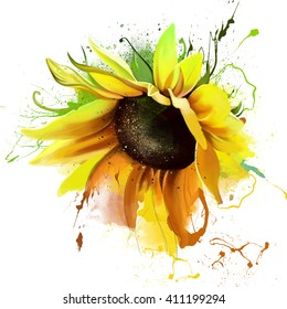 luxurious bright sunflower, with the elements of the sketch, spray paint, closeup on white background