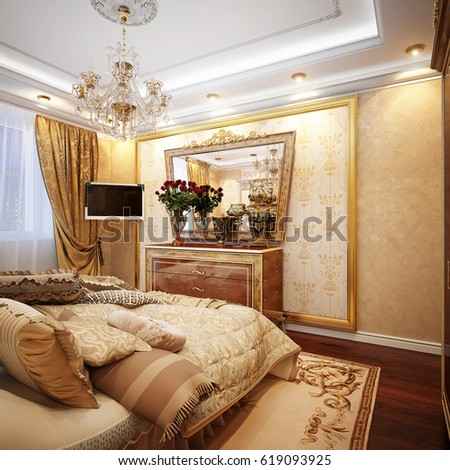 Luxurious Classic Baroque Bedroom Interior Design Stock Illustration