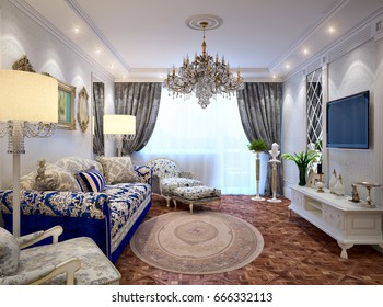 Luxurious classic baroque living room interior design with mirrors, wooden parquet floors, white furniture, ceiling and walls decorated with molded ornaments. 3d render
