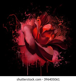 Luxurious deep red rose closeup on black background, with elements of the sketch and spray paint, as print for clothes, cover notebook
