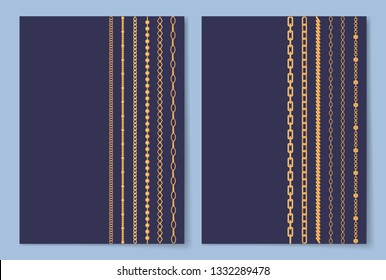 Luxurious expensive gold chains promo poster. Elegant accessories of precious metal raster illustrations and sign in italic font on blue background.