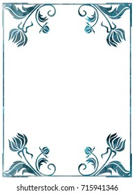 Luxurious frame with decorative floral silhouettes. Copy space. Beautiful background for your artwork. Raster clip art.