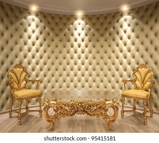 luxurious interior with leather walls and classical furniture of gold.
