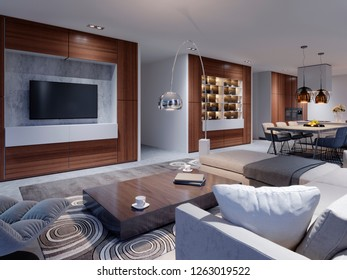 luxurious interior of the living room studio in contemporary design with kitchen and dining room. Evening light in the interior with large windows and views of the evening city.