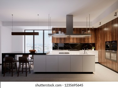 Luxurious kitchen furniture with a white bottom and wooden top, combining white and brown wooden elements. Modern contemporary kitchen. 3d rendering.