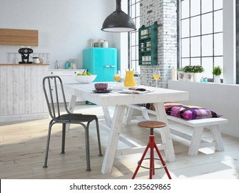 Luxurious kitchen with stainless steel appliances in a apartment. 3d rendering