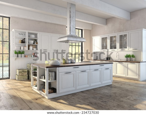 Luxurious Kitchen Stainless Steel Appliances Apartment Stock ...