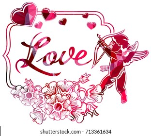"Luxurious label with silhouettes of Cupid, hearts and artistic written word ""Love"". Beautiful background for your greeting card. Raster clip art."
