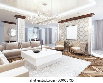 Luxurious large living room style art Deco. Furniture in white tones and milky colors with beige sofa and armchairs. 3D render.