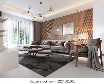 Luxurious living room in Contemporary style with wooden decorative panel on the wall. Studio apartment with a sofa and a dining table. 3D rendering.