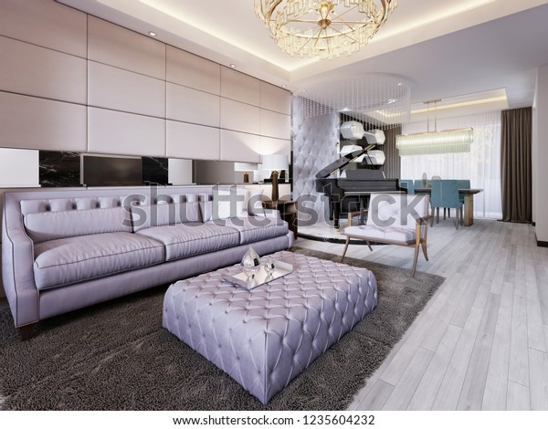 Luxurious Living Room Modern Style Quilted Stockillustration ...