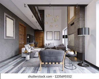Luxurious lof interior design living room in a hipster style with gray furniture and walls and a creative cabinet under the TV with shelves. 3d rendering.