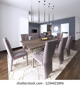 Luxurious modern dining room boasts a wood dining table illuminated by a pendant lights and surrounded by brown leather dining chairs finished with modern chest of drawers. 3d rend