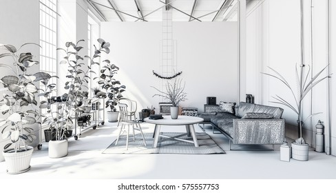 Luxurious modern living room in apartment with houseplants, sofa and table, white theme. 3d Rendering.