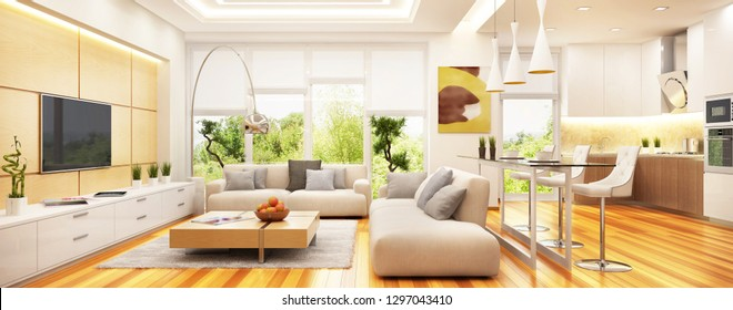 Luxurious modern living room with kitchen in one space. 3d rendering