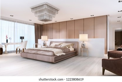 Luxurious modern master bedroom in light colors in pastel colors. 3D rendering
