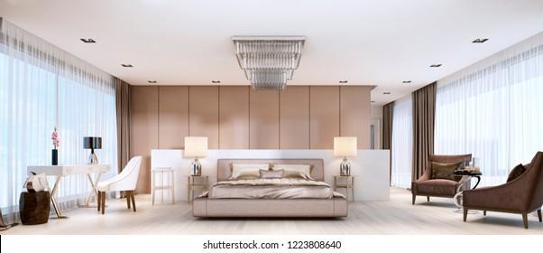 Luxurious modern master bedroom in light colors in pastel colors. 3D rendering