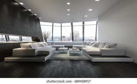 A luxurious modern penthouse lounge room with expansive city views from an open glass balcony. 3d Rendering.