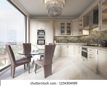 A luxurious modern-style kitchen with a dining table and a large full-length window and a beautiful view of the city. 3D rendering.