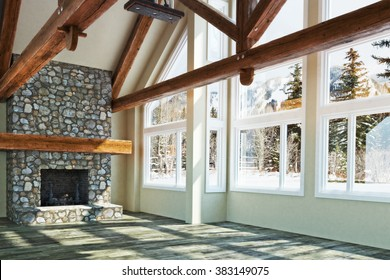 Luxurious open floor empty cabin interior design with fireplace and winter scenic background. Photo realistic 3d model scene.