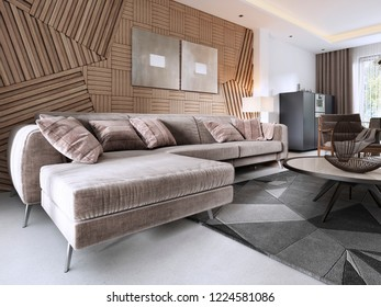 Luxurious soft sofa in the living room modern style with a table and a lamp. 3D rendering.