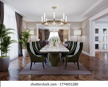 Luxuriöses, trendiges Interieur im Art-Deco-Stil, beige Einrichtung mit grünen Möbeln. Rechteckiger Tisch mit sechs Stühlen. 3D-Darstellung.