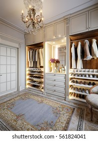 Luxurious Walk-in closet wardrobe room in large house in classic style. 3d render