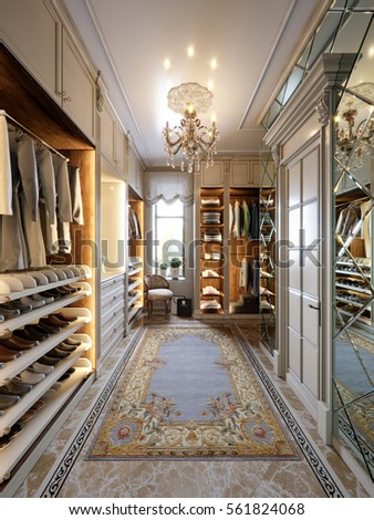 Luxurious Walk In Closet Wardrobe Room In Large House In Classic Style. 3d  Render
