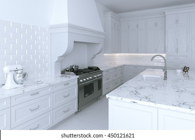 Luxurious white kitchen cabinet with cooking island. Close up version. 3d render.