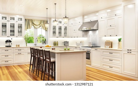 Luxurious white kitchen in a large beautiful house. 3D rendering