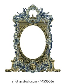 Luxuriously illustrated old colored victorian frame.