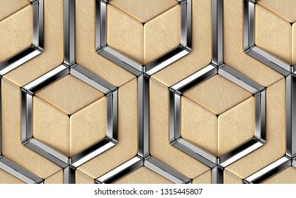 Luxury 3D tiles made of golden leather elements and silver chrome metal decor elements. High quality seamless realistic pattern.
