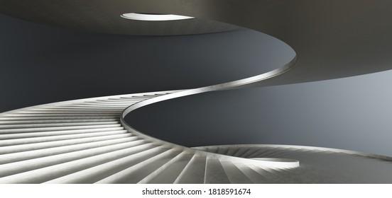 Luxus abstrakter architektonischer minimalistischer Hintergrund. Zeitgenössischer Showroom. Gold Metall Wendeltreppe Moderne Treppe nach oben.Leere Galerie. Hintergrundbeleuchtung. 3D-Illustration und Rendering.