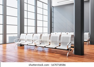 Luxury airport waiting area with metal chair. Lounge and travel concept. Close up.  3D Rendering