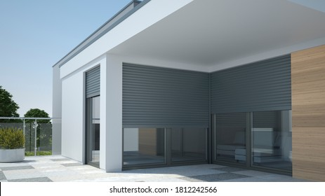 Luxury apartment with window shutter roller - 3D illustration