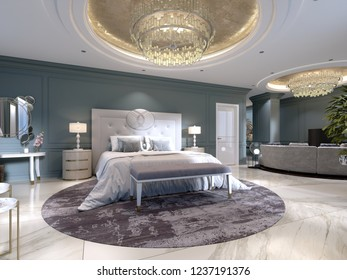 Luxury apartments with a bedroom and living area in contemporary style with classic elements, blue walls and light furniture. 3d rendering