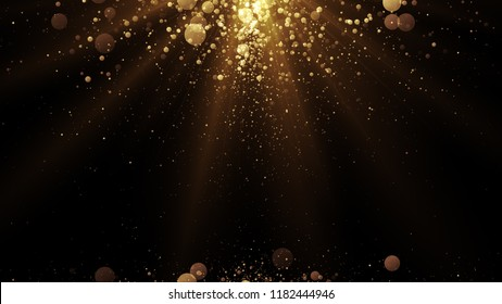 Luxury background with golden particles at the top and bottom. Glitter sparks and light. Holiday card backdrop.