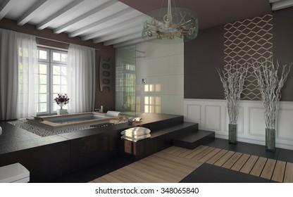 luxury bathroom in brown colors 3d Rendering