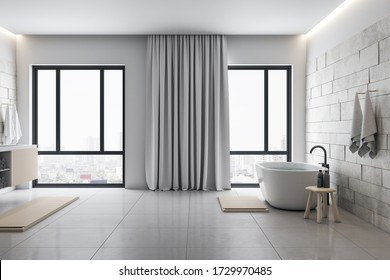 Luxury bathroom with decorative objects and panoramic city viwe. Style and hygiene concept. 3D Rendering