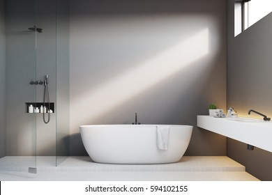 Luxury bathroom interior with gray walls and a shower. There is a sink in the corner and a narrow horizontal window. 3d rendering, mock up